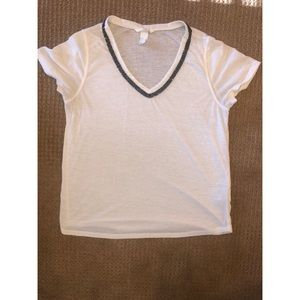 White cotton soft Tshirt with metallic trimming